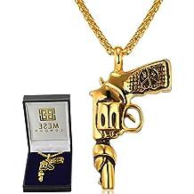 MESE London Collar Pistola Roscoe Bañado En Oro 18K Colgante Pistola - Elegante Caja De Regalo