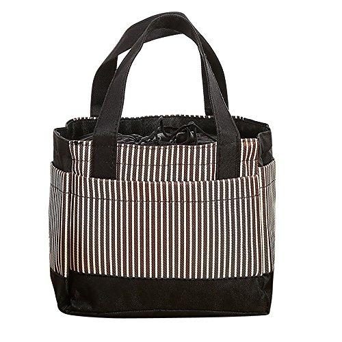Lunch Taschen - 2019 Neu Gestreifte Einfache tragbare Lunchpaket - Isolierte kalte Leinwand Streifen Picknick Tragetasche Thermal Portable Lunch Bag - 21*10*17.5cm (Kaffee) - Gestreifte Leinwand