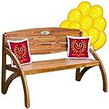 Set zur Goldenen Hochzeit : Kissen rot und Gartenbank Holz mit personalisierter Gravur, Luftballons, Zwei Kissen, Geschenk - persönliche Geschenke zur goldenen Hochzeit