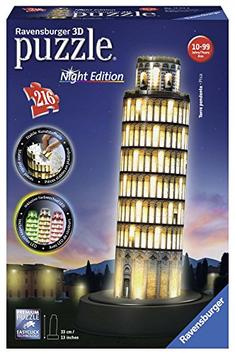 Ravensburger Italy- Torre di Pisa Puzzle, 3D Building, Night Edition, 12515