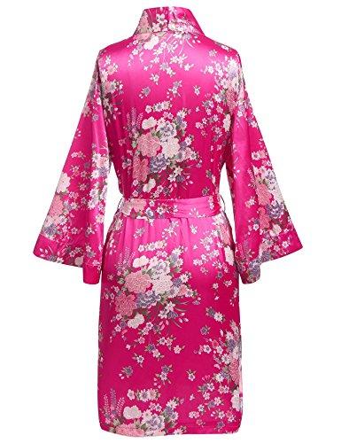 Damen sexy Morgenmantel Satin Kimono Robe Bademantel Nachtwäsche Rosa