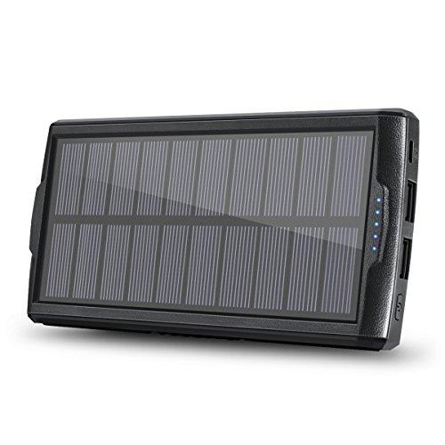 Solar Ladegerät, vivostar 20000mAh Portable Power Bank externe Backup Akku Pack Dual-Ausgang USB (2.1A) Solar Panel Ladegerät mit LED-Licht für iPhone, Samsung Galaxy, iPad, GoPro Kamera, GPS und - Windows Phone Ladegerät Tragbares