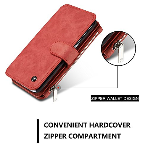 Wkae CaseMe abnehmbare Premium Ledertasche, 13 Kartenfächer, 1 Foto Frame Reißverschluss Magnetische Abdeckung für Samsung Galaxy S7EDGE [5.5Inch] Wallet Case, ( Color : Brown ) Red