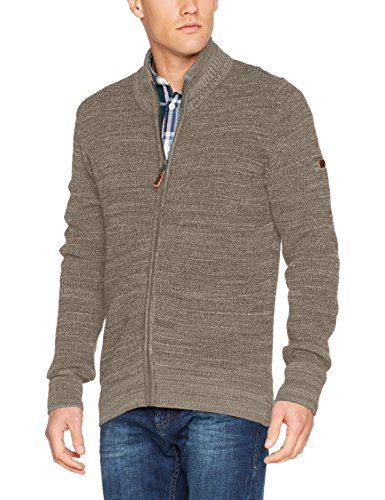 camel active Herren Strickjacke Jacket Stand Up Mouli Beige (Dark Sand Los 05)