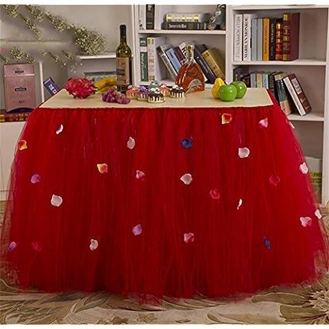 G&M (80 cm * 91,5 cm) rojo púrpura de la mesa faldas boda Prop cumpleaños fiesta Navidad partido bebé ducha flor pétalo falda mesa mantel blanco , purple