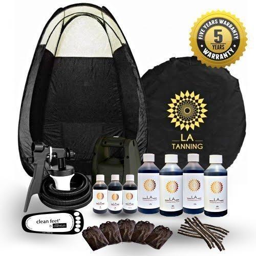 Upgrade-einheit (Stern kaufen neuester Spray Bräunungs Kit! TS20, Zelt 7 Flaschen unserer Preisgekröntes La Lösung, Einwegartikel und Schutz cream.plus 5 J Garantie - schwarz Zelt)