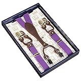 Frau / Mann Hosenträger Moderne Einstellbare und Hohe Qualität KANGDAI 6 Clips mit Y-Zurück Durable Breite Elastische Straps Hosenträger Abnehmbarer Gürtel für Hosen Hosenträger (lila)