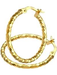 Citerna RIL1502Y Diamond Cut 9 ct Gold Square Petite Hoop Women Earrings 1GjQW