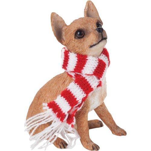 Sandicast Tan Chihuahua with Red and White Scarf Christmas Ornament -
