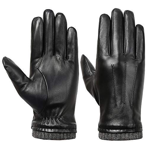 Acdyion Herren Winter Touchscreen Lederhandschuhe Lammfell Touchscreen Handschuhe Winter Herren warm Outdoor 100% echtes Leder und Fleece-Futter (Small)