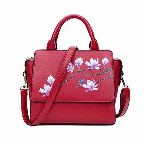 Weibliche Chinesische Flügel packen Rote Druck dame handtasche Schulter tasche Schräge Kreuz Rote Magnolie