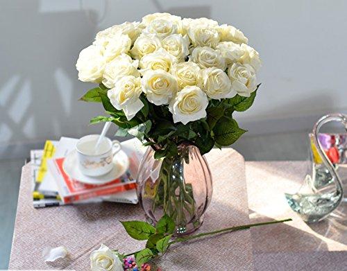 10 Stück Real Touch Silk Kleben PU Silk Künstliche Rose Blumen Home Dekorationen für Hochzeitsfeier oder Geburtstag Garten Brautstrauß Blumensträuße Happy Valentinstag Geschenke Party Veranstaltung (White) (Real Touch Blumen Brautstrauß)