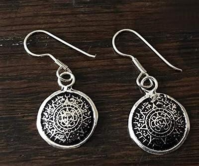 Boucles d'oreilles Calendrier Aztèque Mexique argent 925/1000