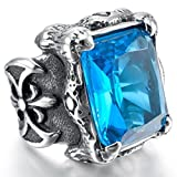 Best Tiger Claw Claw Hammers - Men's Blue Cubic Zirconia Crystal Dragon Claw Biker Review