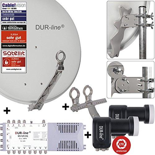 DUR-line 8 TN/2 Satelliten Set - Qualitäts-Alu-Satelliten-Komplettanlage - Select 75/80cm Spiegel/Schüssel Hellgrau + Multischalter + 2xLNB - für 8 Receiver/TV [Neuste Technik, DVB-S2, 4K, 3D]