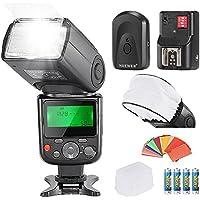 Neewer® PRO Kit Flash NW670 E-TTL Photo pour Canon Rebel T3i T5i T4i T3 T2i T1i XSi XTi SL1 EOS 700D 650D 600D 1100D 550D 500D 450D 400D 100D 300D 60D 70D DSLR et Appareils Photo Canon EOS M Compact Kit Inclut 1*NW670 TTL Flash pour Canon + 1*Universel Mini Softbox pour Flash Diffusseur+ 1*35 pièces Filtres Gel Coloré + 1*Diffuseur de Flash + 1*16 Canaux Flash Déclencheur à Distance sans Fil + 4* Batterie LR