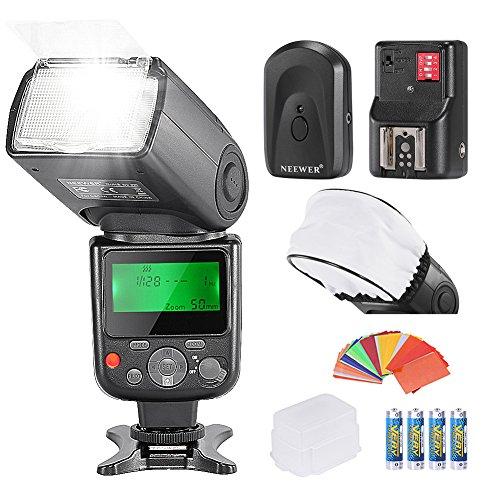 Neewer PRO NW670 E-TTL Foto Blitz Set Blitzgerät Flash für Canon DSLR-Kamerasmit Diffuser Kappe Farbgel Filter Blitzdiffusor Blitzauslöser und...