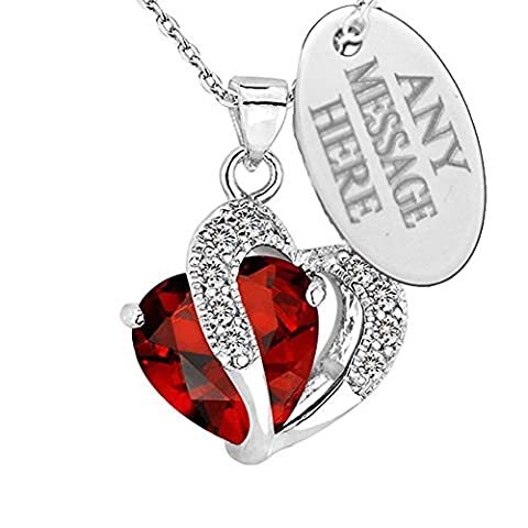 Personalised Engraved Birthstone Necklace Jewellery Love Heart Pendant With Swarovski Crystal (July)