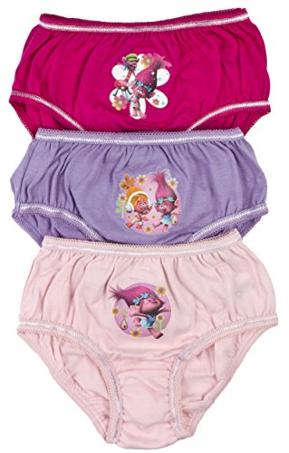 Trolls Girls 3 Pack Briefs Knickers Underwear Princess Poppy Kids Gift Xmas Size UK 2-8 Years