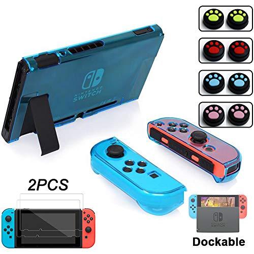 Dockable Crystal Cover Case für Nintendo Switch, NS Switch, Klar Anti-Scratch gehärtetes Glas Displayschutzfolie Blau Clear-Blue Blue Crystal Case