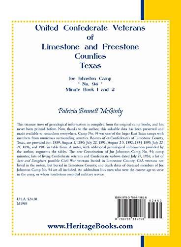 United Confederate Veterans of Limestone and Freestone Counties, Texas, Joe Johnston Camp, No. 94, Minute Book 1 and 2