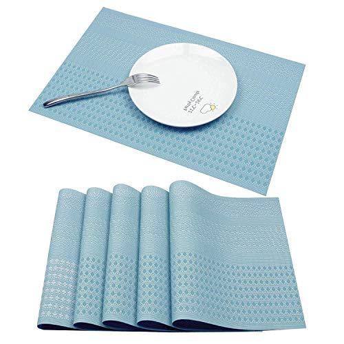 Famibay Tischset Rutschfest PVC Weave Tischsets Abgrifffeste Hitzebeständig Platzdeckchen Vinyl Tischset für Küchentisch 6er Platzdeckchen(Blau)