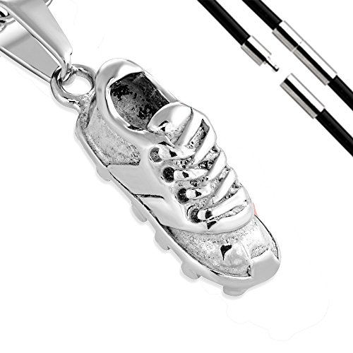 BlackAmazement 316L Edelstahl Anhänger Fussballschuh Soccer Sport Schuh Halskette Leder Kette Silber schwarz Gold Damen Herren (Farbe Silber mit Kette) -