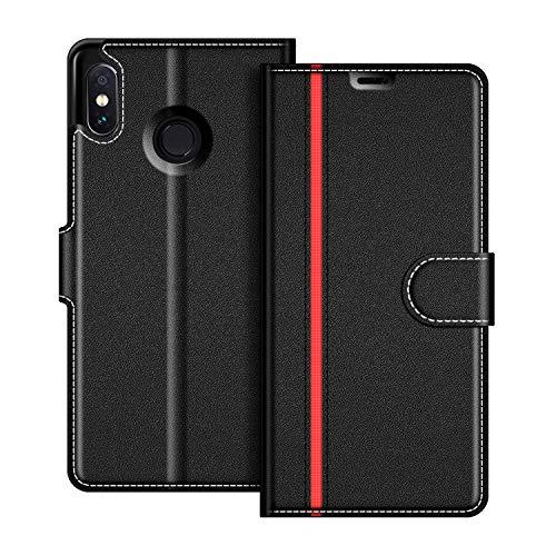 COODIO Handyhülle für Xiaomi Redmi Note 6 Pro Handy Hülle, Xiaomi Redmi Note 6 Pro Hülle Leder Handytasche für Xiaomi Redmi Note 6 Pro Klapphülle Tasche, Schwarz/Rot