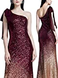 Ever Pretty Damen Elegant Lange Pailletten One Shoulder Bodycon Cocktail Abendkleider 40 Größe Burgundy
