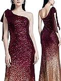 Ever Pretty Damen Elegant Lange Pailletten One Shoulder Bodycon Cocktail Abendkleider 36 Größe Burgundy