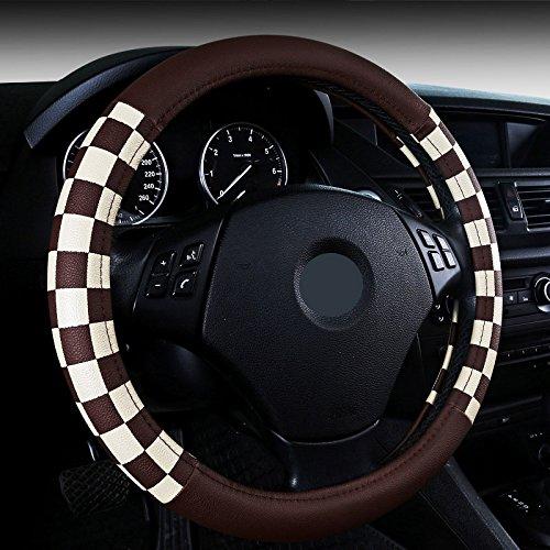 WLFXPT Auto Lenkradbezug PU Leder Grau/Schwarz/Beiga Auto Radkappen Styling Lenk Cheel Hubs Ford tiguan Brown