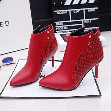 RTRY Scarpe Donna Gomma Rientrano Combattere Stivali Stivali Stiletto Heel Punta Per Esterni Di Rosso E Nero US6.5-7 / EU37 / UK4.5-5 / CN37