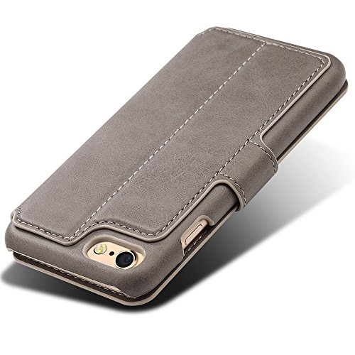 iPhone 6/6s Etui Wallet ,VENTER® Etui Wallet iPhone 6/6s - Cover iPhone 6/6s - Hülle, Wallet Kartenfach Premium Ledertasche mit Stand-Funktion - Praktishe Leder Flip Schutzhülle für Apple iPhone 6/6s  grau