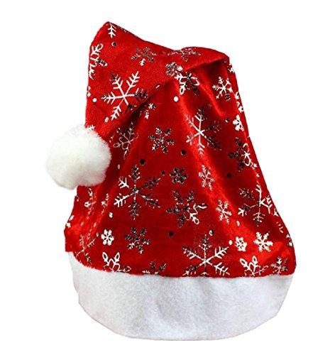 1 PCS Neue jahre Weihnachten Santa Hüte Rote Kappe Weihnachten Hut Für Santa Claus Kostüm Weihnachten Dekoration für Erwachsene Simonabo (Silber) (Hut Von Santa Claus)