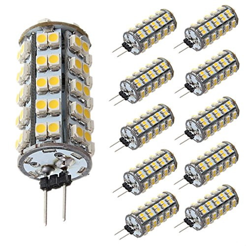 G4 68LEDs Lampe - SODIAL(R) 10 Stueck G4 LED 1210SMD 68LEDs 3W 500LM DC12V Mais Gluehlampe Warmweiss Leselicht Auto Lampe