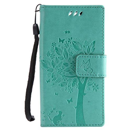 Chreey Huawei Mate 10 Pro Hülle, Prägung [Katze Baum] Muster PU Leder Hülle Flip Case Wallet Cover mit Kartenschlitz Handyhülle Etui Schutztasche [Grün]