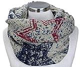 PiriModa XXL Neue Kollektion Damen Schal leichter Schlauchschal Viele Farben (Stern Beige/Dunkelblau/Bordeaux)