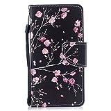 COZY HUT Cover per iPhone SE / 5 / 5S, [Kickstand] [Slot per Schede] [Chiusura Magnetica] Flip Caso in PU Pelle Premium Portafoglio Custodia per iPhone SE / 5 / 5S - Fiore di Begonia