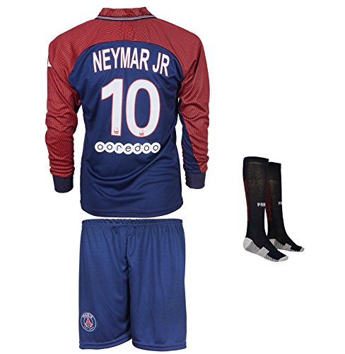 PSG Paris Saint Germain 2017/18 # 10 Neymar Heim - Kinder Langarm Trikot und Hose mit professionellen Socken (152)