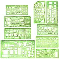 9 plantillas geométricas de dibujo verde claro para construcción de plantillas, reglas de medición de plástico para construcción y estudio