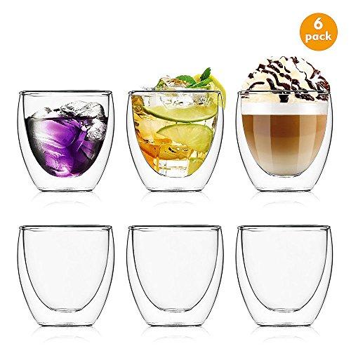Esnow 80 ml doppelwandige Glas/Tasse Espresso-Tassen, klares und langlebiges Glas, hitzebeständig durchsichtig Klar-glas