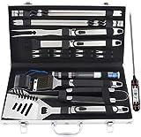 Romanticist 20pcs Edelstahl Grillbesteck Set im Aluminium-Koffer, BBQ Grill Zubehör Set fürs Camping, fürs Dad mit Geschenkpaket