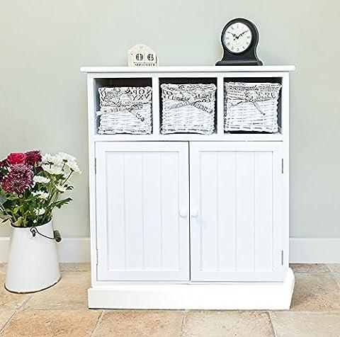 Shabby Chic White 2 Door 3 Drawer Wicker Sideboard Storage Cupboard