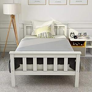 ModernLuxe Doppelbett 140×200 cm, Holzbett aus Bettgestell mit Lattenrost Futonbett mit Kopfteil – Massivholzbett Kiefer…