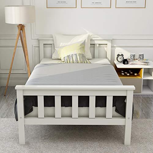 ModernLuxe Einzelbett, Holzbett aus Bettgestell mit Lattenrost Holzbett mit Kopfteil - Massivholz Jugendbett 90 x 200 cm Kiefer Massiv Bett Weiß lackiert Gästebett Bett Weiss -