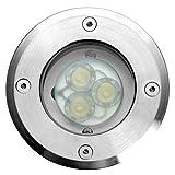 Eco Light LED-Bodeneinbauspot Berlin 3LED, rund, 11 cm Durchmesser, IP67 7005 A-LED 3 * 1 WATT
