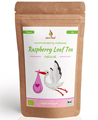 JoviTea® Raspberry Leaf Tea Organic 80g - Herbal Tea - Also During Birth Preparation - Pregnancy Tea - 100% Natural and Without Added Sugar. Organically Grown. Bottled: Germany