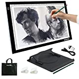 A3 Light Box Drawing LED Artist Stencil Board Tattoo Tracing Table, Yaufey 3 Levels Brightness Display Light Box Pad Super Thin Copy Board for Drawing, Animation, Sketching, Designing, Black (USB Power)