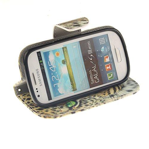 Samsung Galaxy S3 Mini i8190 Hülle,MCHSHOP PU Leder Cover Tasche Soft Case Schutz Hülle Handyhülle Bunt Painted Silikon Back Cover Bumper Schutz Hard Etui Schale Schutzhüllen mit Stand Magnetverschlus Gelb Tiger mit grünen Augen