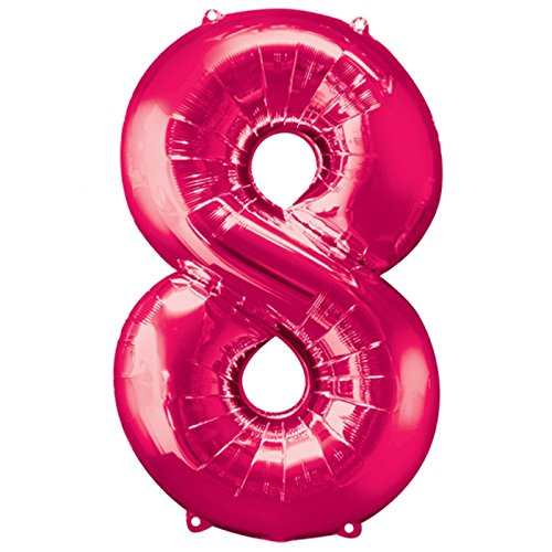 Amscan Folienballon Große Zahl 8 pink, 55x88 cm